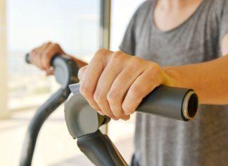 Man on elliptical machine